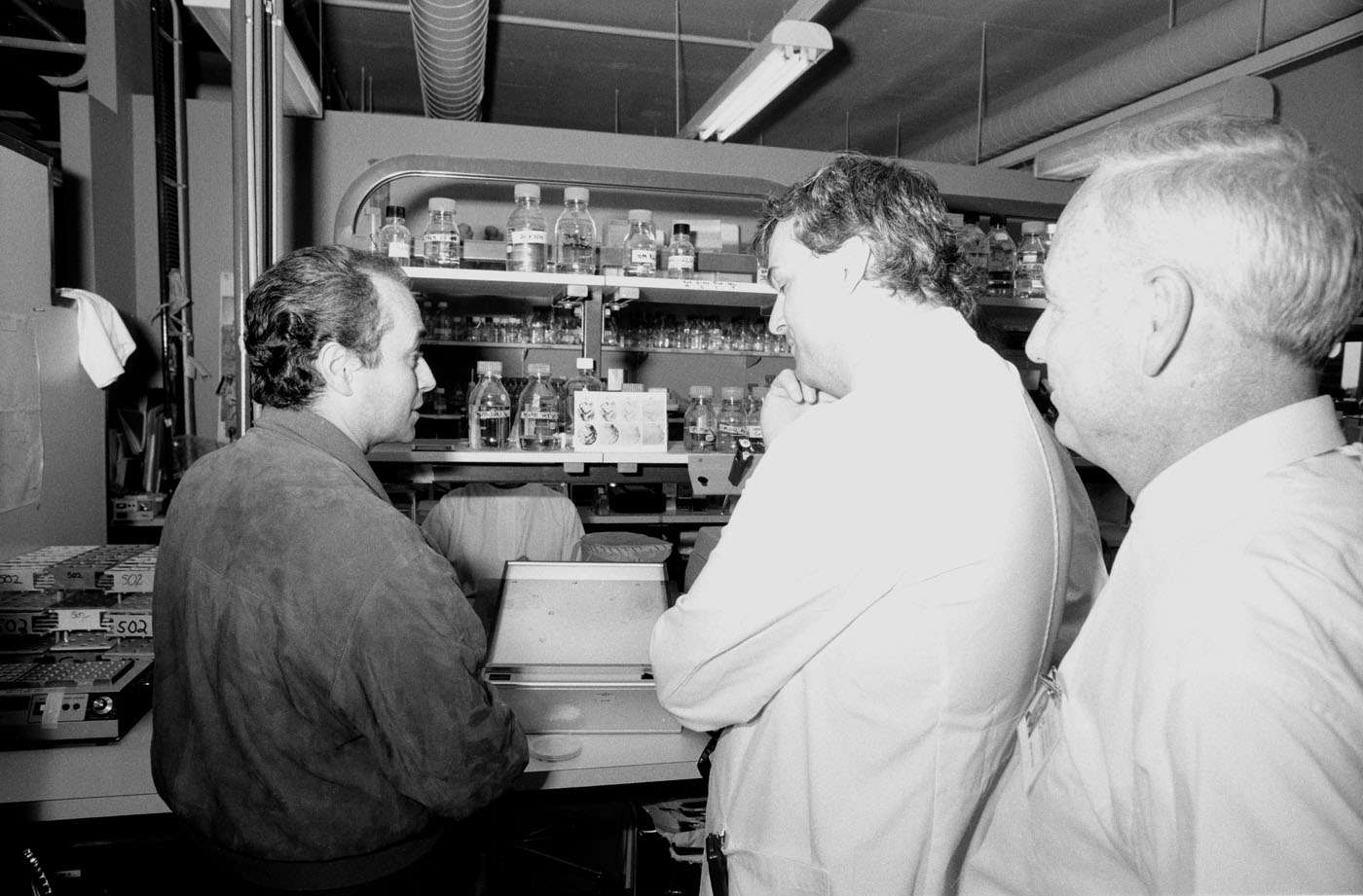 Carreras and Gough stand at a lab bench talking to each other, Metcalf looks on.