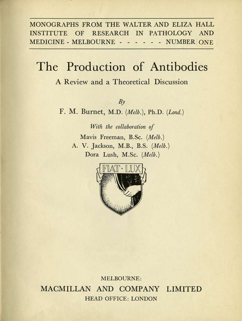 Front cover of the book The Production of Antibodies, written by Macfarlane Burnet and Frank Fenner.
