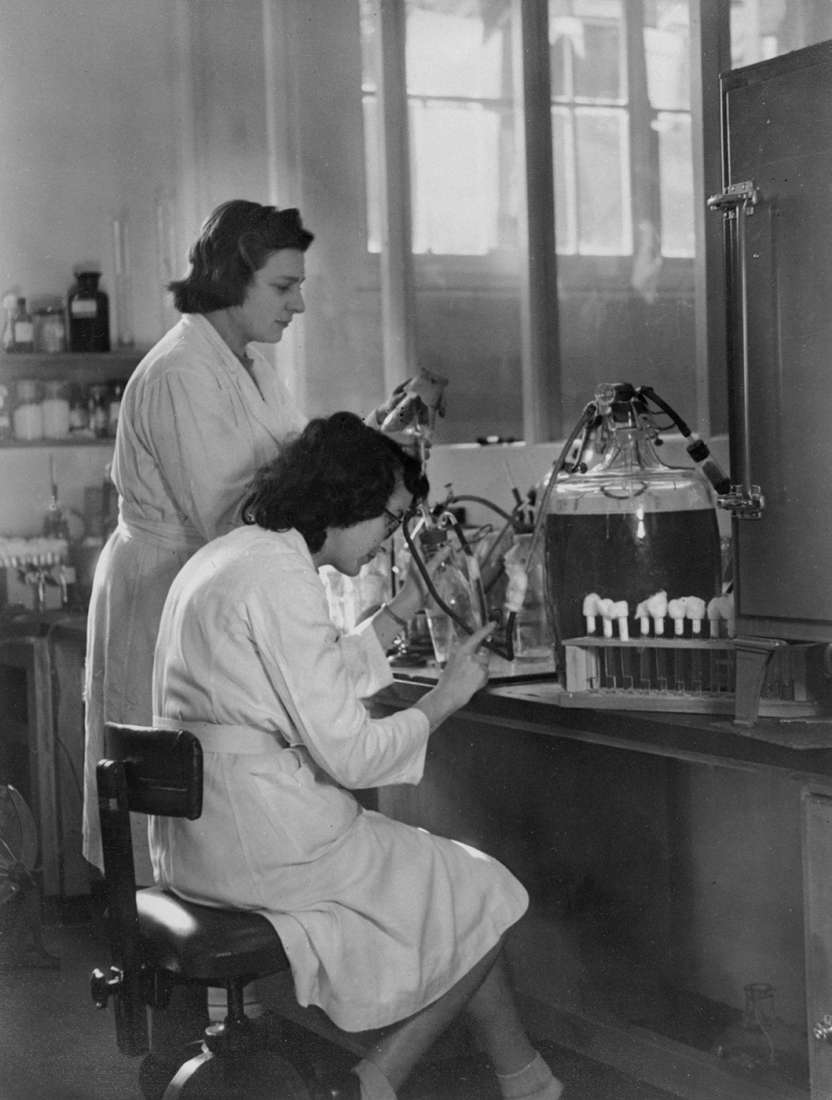 One woman sitting and one standing at a laboratory bench, with equipment and bottles for purifying viruses.
