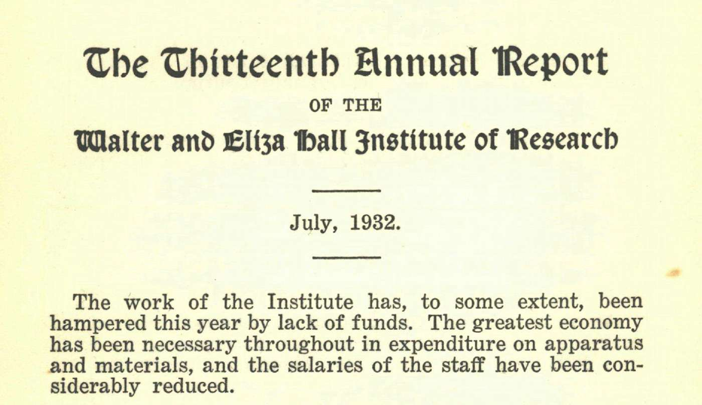 Excerpt from the institute's Annual Report, 1931-1932